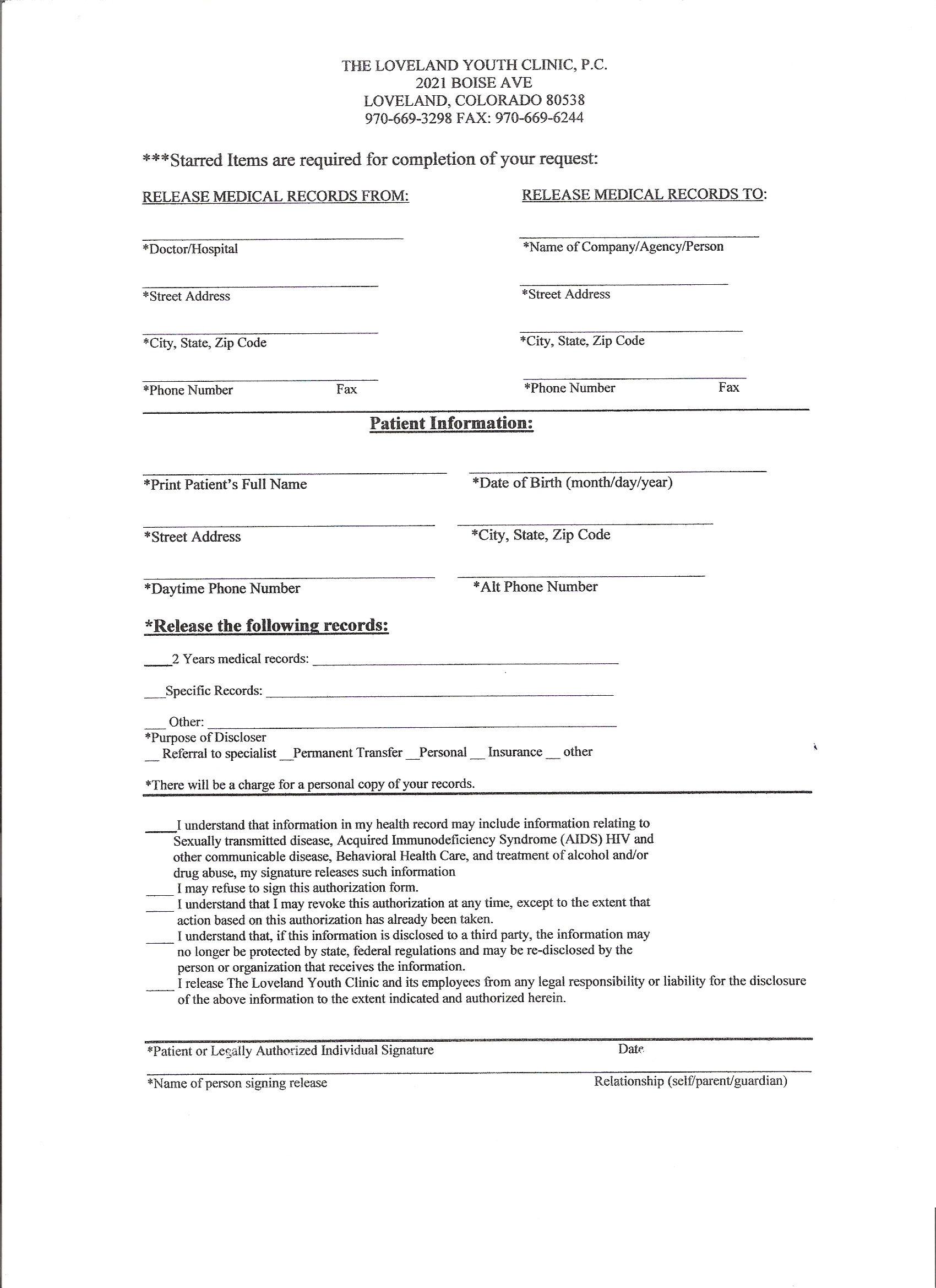 Medical Records Release  Medical Record Form Template
